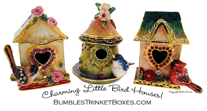 Charming little bird house trinket boxes.