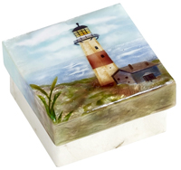 Capiz shell trinket box- lighthouse.
