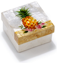 Golden pineapple with flowers trinket box.