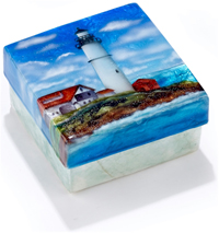 Lighthouse trinket box made of Capiz Shell.